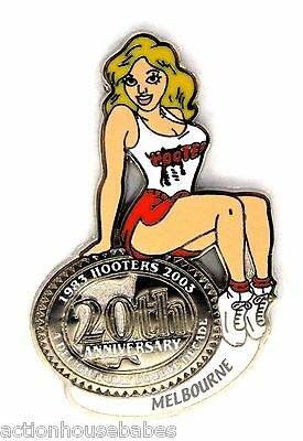 HOOTERS RESTAURANT 20th ANNIVERSARY GIRL MELBOURNE LAPEL BADGE PIN