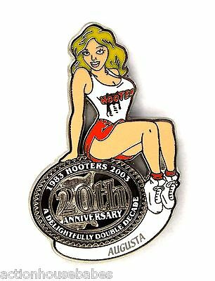 HOOTERS RESTAURANT 20th ANNIVERSARY GIRL AUGUSTA LAPEL BADGE PIN