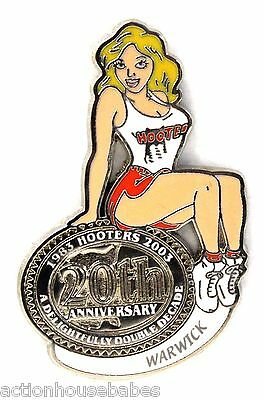 HOOTERS RESTAURANT 20th ANNIVERSARY GIRL WARWICK  LAPEL BADGE PIN