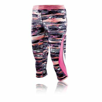 SKINS Womens DNAmic Fitness Running Exercise Compression 3/4 Capri Tights Pink