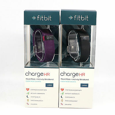 NEW Fitbit Charge HR Activity, Heart Rate + Sleep Wristband - Black, purple