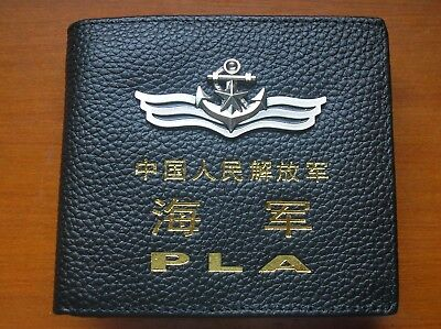 15's series China PLA Navy Badge Officer Genuine Leather Wallet,AAA