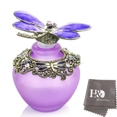H&D Handmade Empty Purple Crystal Dragonfly Perfume Bottle LadyWedding gift 40ml