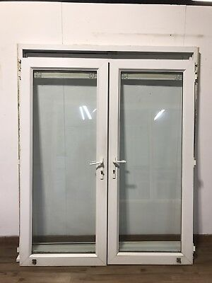 Upvc french double glazed doors external white open - Upvc double front exterior doors ...