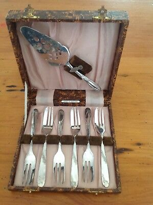 Vintage Boxed Angora Silver Plated Cake Fork Set