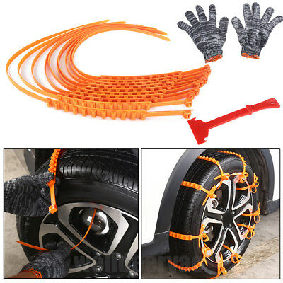 10Pcs Winter Snow Emergency Anti-skid Tire Chain Shovel Glove Kits for Car Truck