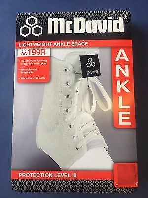 McDavid Light weight 199R Large Laced Ankle Brace Guard L white lace up Mc David