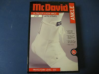 McDavid UltraLight weight 195R Extra- Large Lace up Ankle Brace / Guard XL White