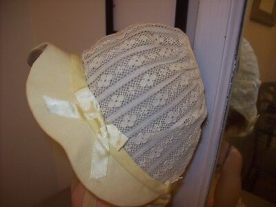 Antique Yellow & White Baby or Baby Doll Bonnet or Hat