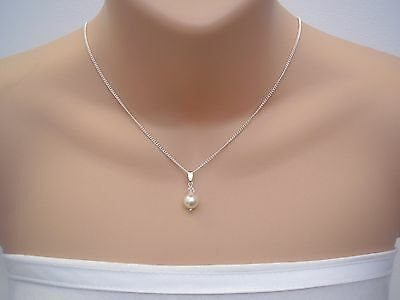 Dainty Drop Necklace Handmade with a Swarovski Pearl & Crystal Pendant on Chain
