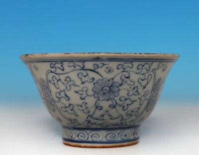 Exquisite Rare Old Chinese Porcelain Blue And White Bowl Mark GuangXu FA521