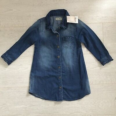 Next Girls Winter Blue  Denim Shirt Dress 2-3 Years BNWT