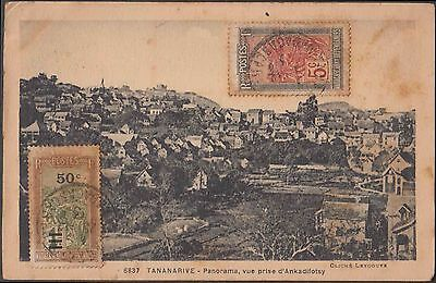 Madagascar France 1933 Tananarive Early Ppc To French India Pondicherry