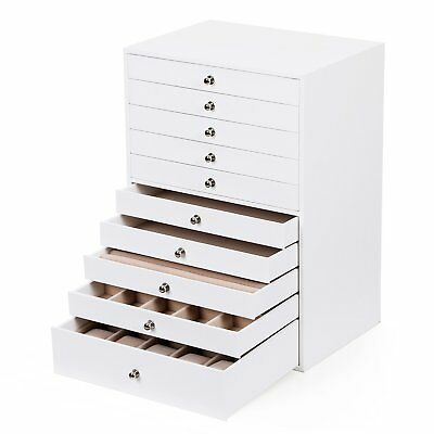 Extra Large Jewellery Box 10 Layer Storage Case Organizer Drawer White Leather