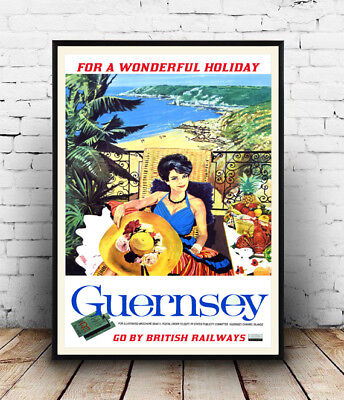 Guernsey  : Vintage Seaside  Rail Travel advert, Wall art ,poster, Reproduction.