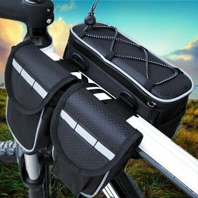 Waterproof Bicycle Frame Front Tube Bag Large Double Pouch Front Frame Bag OE