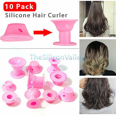 10 x Silicone Hair Curler Magic Hair Care Rollers No Heat Hair Styling Tool Pink