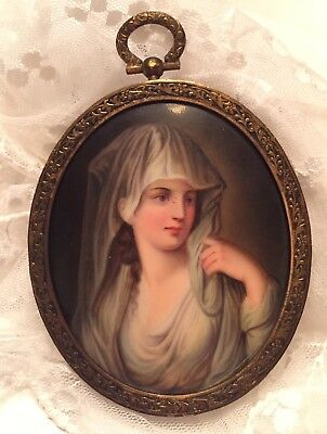 Miniature PAINTED PORTRAIT Domed Porcelain 1880 Beautiful Young Woman Oval Frame