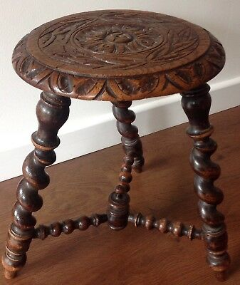 A 19th Century, Carved Oak Stool.