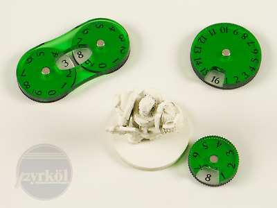 Pyrkol Wound Tracker Dials in Green for 40k Dark Angels Nurgle Necron Ork Eldar