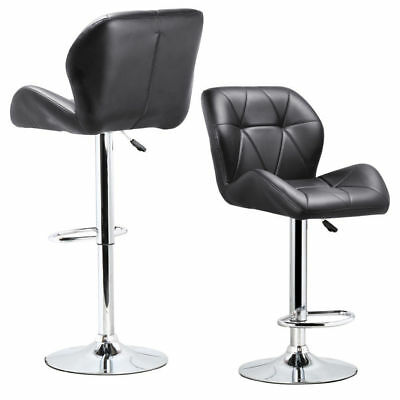 Set of 2 Adjustable Swivel Bar Stool PU Leather Hydraulic lift Dinning chai Y5O6