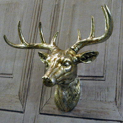 28cm Silver Colour Deer Stag Stags Animal Head Wall Art Hanging Decoration
