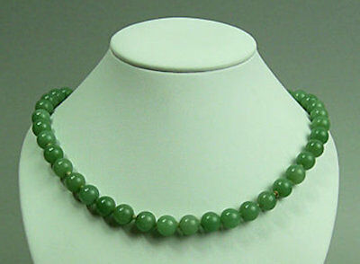A Fine Celadon Jade Bead Necklace With Silver Clasp - 58 Grams