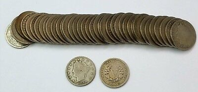 ROLL OF LIBERTY V NICKELS 40 COINS 1899-1912 with 13 DIFFERENT DATES
