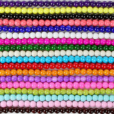 Opaque Coated Glass Smooth Pearl Round Ball Beads 16'' 4mm 6mm 8mm 10mm 12mm