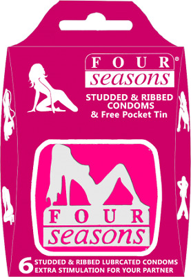 Four Seasons Studded & Ribbed Pink Tin 6's Condoms
