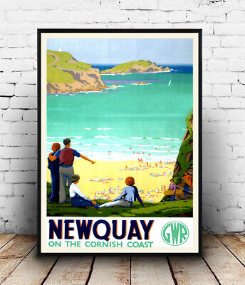 Newquay Old Travel Advertising  Poster reproduction