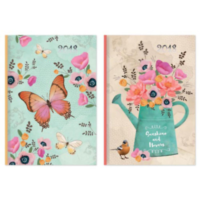 2018 Diary Week To View A6 Week to view Butterflies or Flowers Hardback Diary