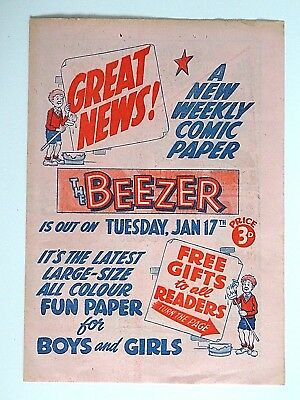 BEEZER Comic #1 and #2 (1956) FLYER - VERY SCARCE !! From Beano #704. FINE dandy