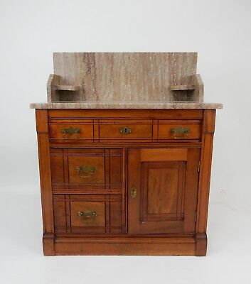 Antique Victorian Walnut marble top wash stand/ commode 30.5