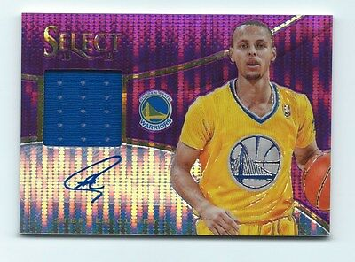 2013-14 Panini SELECT Stephen Curry PURPLE PRIZM PRIME JERSEY AUTO S/N 22/30