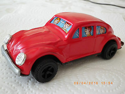 Volkswagen Beetle 2 Door Sedan Red - Tin Car Made In Japan Mark Y Sanko, No Box