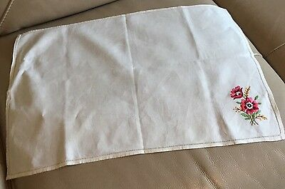 Vintage Retro Mid Century Linen Red Silk Floral Embroidery Tapestry Table Cloth