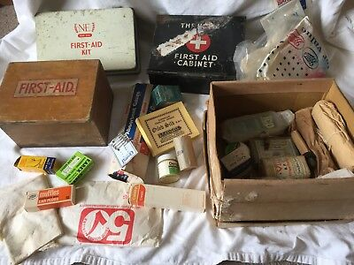 A collection of Vintage first Aid boxes, tins and contents, bumper lot.