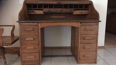 Antique Genuine Roll Top Office Desk & Chair