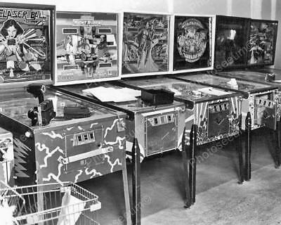 "Arcade Pinball Machine Lineup 1970s   8"" - 10"" B&W Photo Reprint"