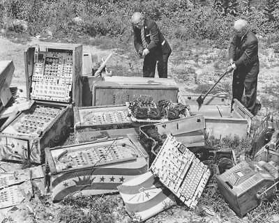 "Bingo Pinballs & Slot Machines Destroyed   8"" - 10"" B&W Photo Reprint"