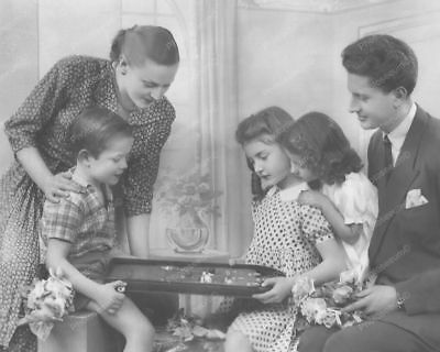 "Family Watches Boy Play Bagatelle Pinball Game 8"" - 10"" B&W Photo Reprint"