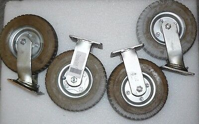 """Lot Of 4 Industrial 8"""" Inflatable Casters 2 Swivel & 2 Stationary Rubber 2.50-4"""