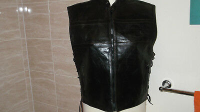 UNISEX...BROWN LEATHER GILET / WAISTCOAT LINED...38 inch...Ladies or Mens