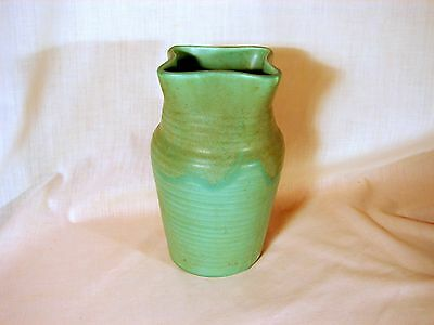 Old Muncie Matt Green over Green Drip Glazed 8in Vase, Shape #446, Excellent Cnd
