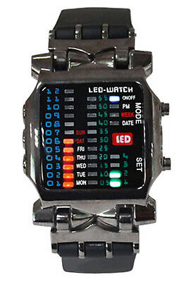 Unisex BINARY LED watch digital day stained sports trend watch gun color N2W4