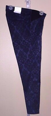 Old Navy Blue Jaquard Pixie Ankle Length Maternity Pants, 2, 4, 6, 8, 10, 12, 14