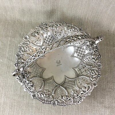 Antique Silver Plated Bread Basket Ornate Victorian Aesthetic Armorial Crest