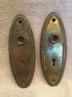 Vintage Pair Stamped Brass Classic Oval Door Knob Back Plates Escutcheons