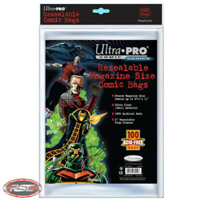 100 - ULTRA PRO MAGAZINE SIZE RESEALABLE 2-Mil Comic Bags 8-3/4 x 11